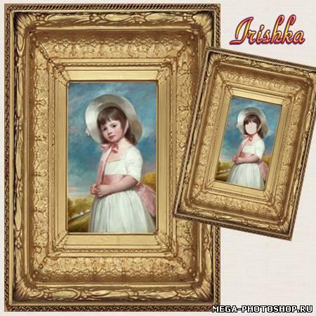 Шаблон для фотомонтажа - Картина маслом - малышка в панаме ...: http://mega-photoshop.ru/publ/shablony_kostjumy_vse_dlja_fotoshopa/shablon_dlja_fotomontazha_kartina_maslom_malyshka_v_paname/1-1-0-3504